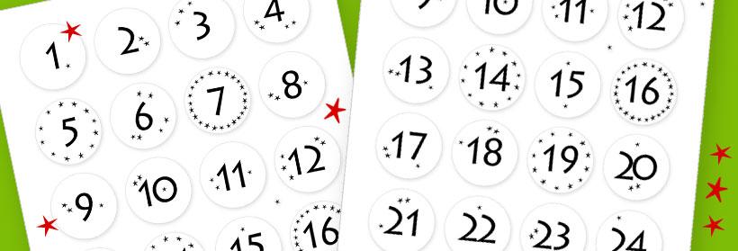 Vorlage für Adventskalender-Zahlen mit Sternen